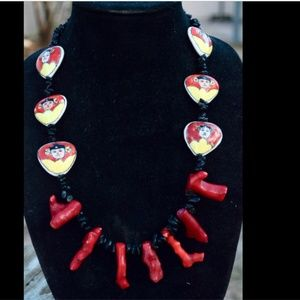 Conceptual Subculture Jewelry - Red Coral Obsidian Eclectic Fringe Necklace OOAK